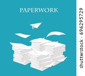 paperwork and routine. vector... | Shutterstock .eps vector #696295729