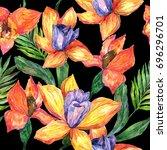wildflower orchid flower... | Shutterstock . vector #696296701