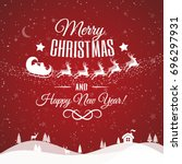 christmas greeting card with... | Shutterstock . vector #696297931