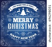 merry christmas greeting card... | Shutterstock . vector #696298051