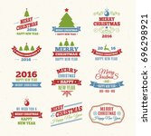 merry christmas color labels... | Shutterstock . vector #696298921