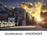 industrial container cargo... | Shutterstock . vector #696304069