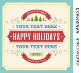 merry christmas greeting card... | Shutterstock . vector #696304621