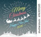 merry christmas card with santa | Shutterstock . vector #696305185