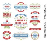 merry christmas color labels... | Shutterstock . vector #696305221