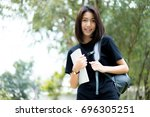 a female college student... | Shutterstock . vector #696305251