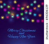merry christmas background with ... | Shutterstock . vector #696306139