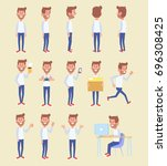set of a young guy in casual... | Shutterstock .eps vector #696308425