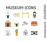 isometric set of museum icons | Shutterstock .eps vector #696308581