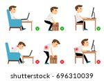 man sitting  working and... | Shutterstock . vector #696310039