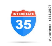 interstate highway 35 road sign | Shutterstock . vector #696310879