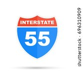interstate highway 55 road sign | Shutterstock . vector #696310909