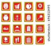 apiary tools icons set in red...   Shutterstock .eps vector #696313495