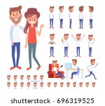 vector couple. set of a guy in... | Shutterstock .eps vector #696319525