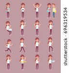 vector set of a young girl in... | Shutterstock .eps vector #696319534