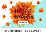 autumn sale flyer template with ... | Shutterstock .eps vector #696319864