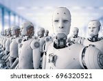 3d rendering robot army or... | Shutterstock . vector #696320521