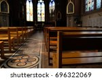 interior of beautiful old church | Shutterstock . vector #696322069