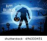 halloween background with... | Shutterstock .eps vector #696333451