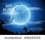 halloween background with... | Shutterstock .eps vector #696333535