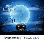 halloween background with... | Shutterstock .eps vector #696333571