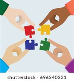 hand teamwork illustration... | Shutterstock .eps vector #696340321