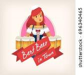 set of beer festival elements... | Shutterstock .eps vector #696340465