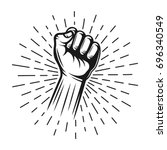 fist hand stamp with rays...   Shutterstock .eps vector #696340549