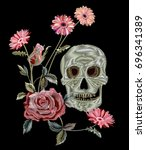 Pattern With Skull  Pink Rose ...