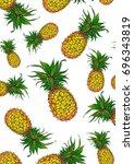 painted pineapple. design print ... | Shutterstock . vector #696343819