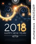 happy new 2018 year poster and... | Shutterstock .eps vector #696352609