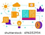 storytelling concept with book... | Shutterstock .eps vector #696352954
