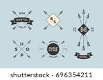 set of emblem  label and design ... | Shutterstock . vector #696354211