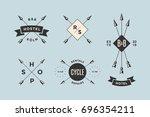 set of emblem  label and design ... | Shutterstock . vector #696354211