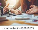 business contract. agreement... | Shutterstock . vector #696355099