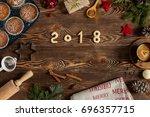 homemade christmass cookies ... | Shutterstock . vector #696357715