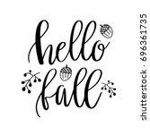 Hello Fall Lettering Text With...