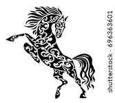 ethnic tribal horse. abstract... | Shutterstock .eps vector #696363601
