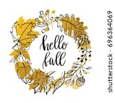 hello fall lettering text in... | Shutterstock .eps vector #696364069
