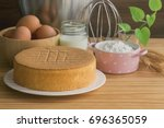 homemade sponge cake on white...   Shutterstock . vector #696365059