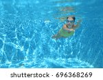 young girl swimmer swimming... | Shutterstock . vector #696368269