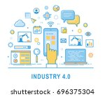 industry 4.0. thin line design. ... | Shutterstock .eps vector #696375304