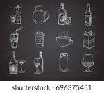 doodle drinks  wine  beer ... | Shutterstock . vector #696375451