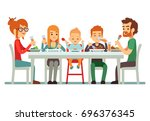 happy big family eating dinner... | Shutterstock . vector #696376345