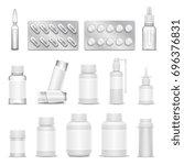 white blank medicine... | Shutterstock . vector #696376831