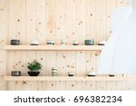 wooden wall background  pine... | Shutterstock . vector #696382234