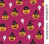 halloween seamless pattern with ... | Shutterstock .eps vector #696382474