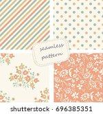 set of vintage seamless...   Shutterstock .eps vector #696385351