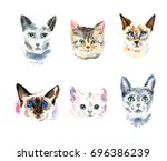 set of six different watercolor ... | Shutterstock . vector #696386239