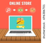 online shopping with open... | Shutterstock .eps vector #696386701